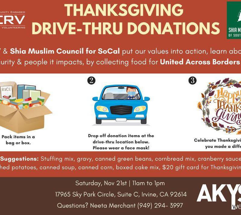 Thanksgiving Drive-Thru Donations